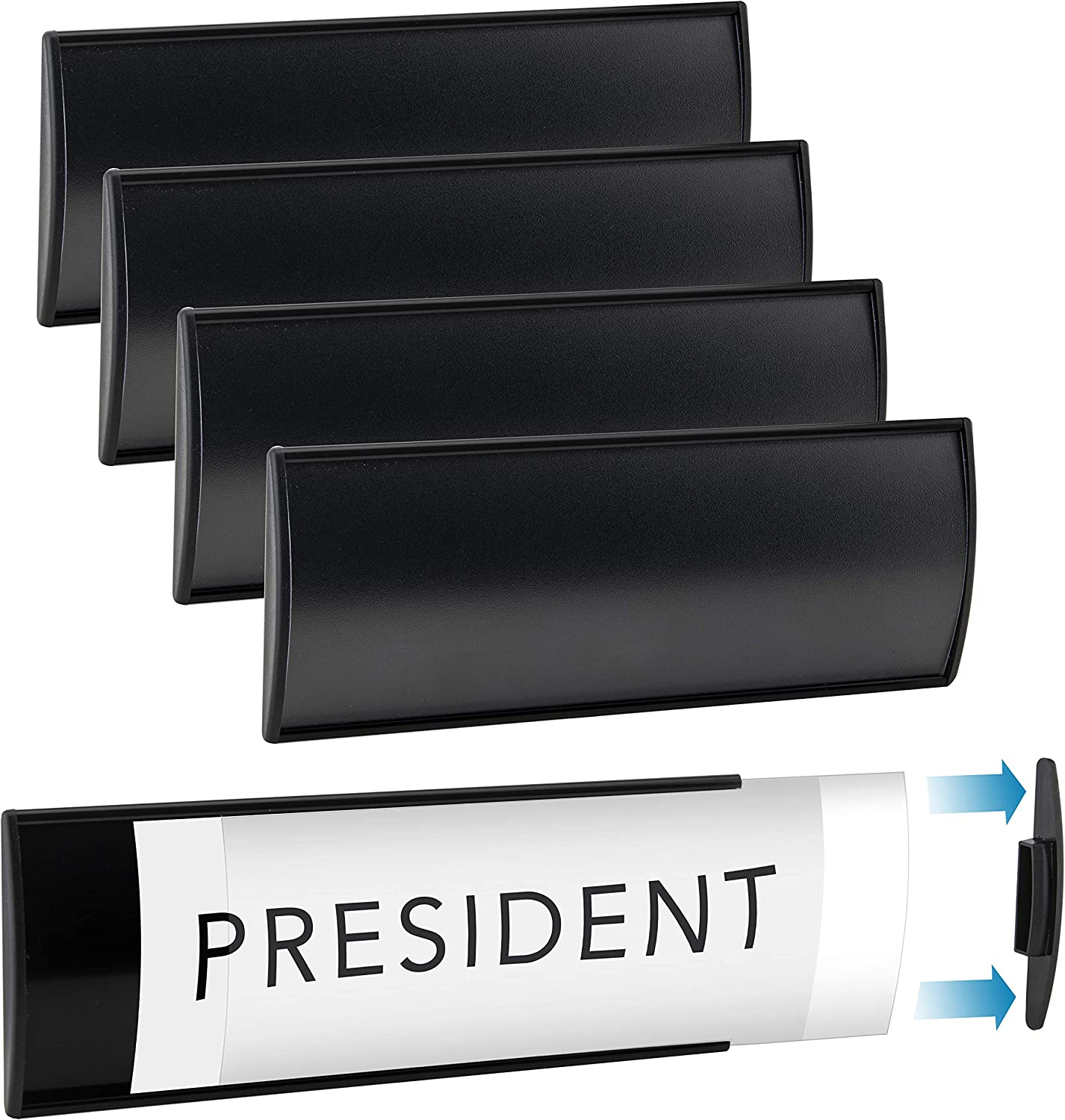 "Set of 6 – Sturdy and Elegant Black Aluminum Wall Mount Name Plate Holder, Curved Office Business Door Sign Holders with Adhesive Tape, 8"" X 3"" - Plastic Film Included, Paper Inserts NOT Included"