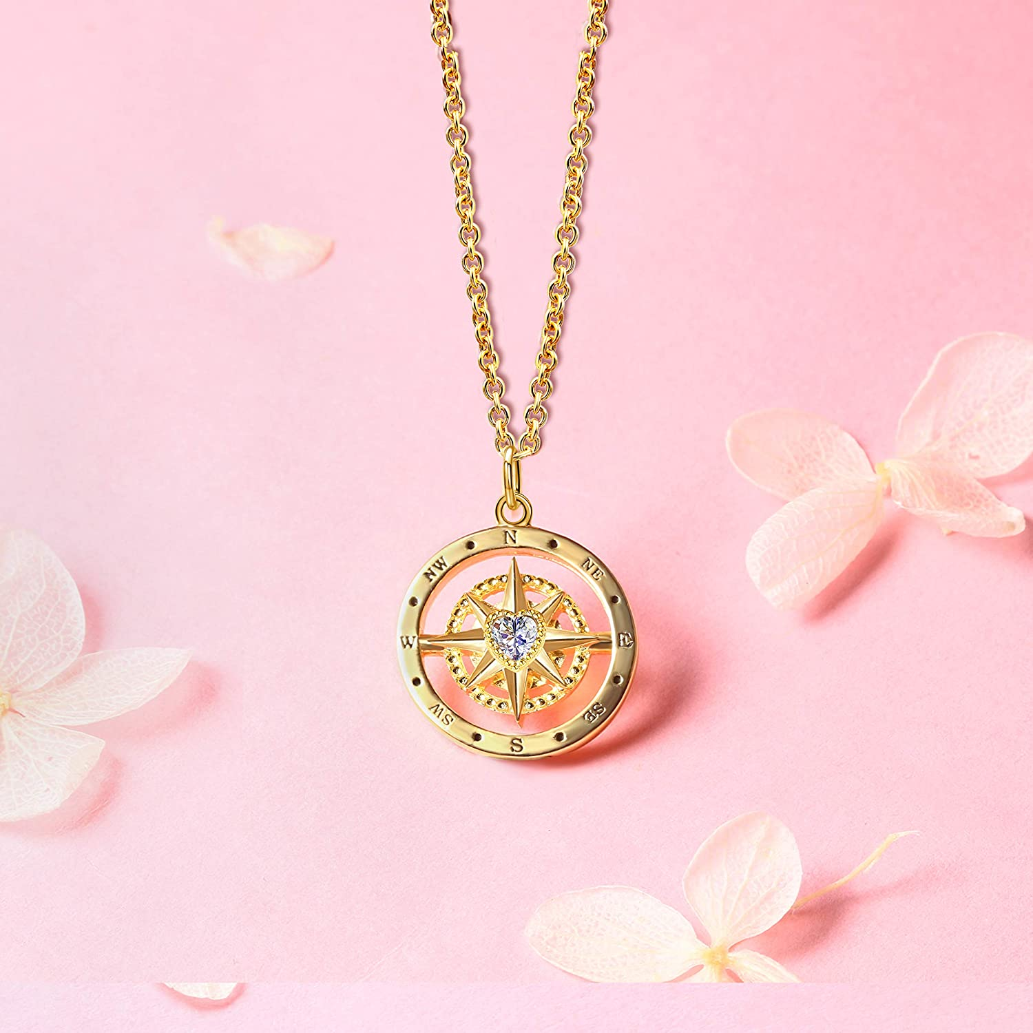 Christmas Birthday Anniversary Mothers Day Valentines Day Graduation Gifts Best Friend Niece Daughter Sister Wife Coworker Jewelry Life Is A Journey Enjoy The Ride Rose Gold Stainless Steel Compass Pendant Necklace for Women and Teen Girls
