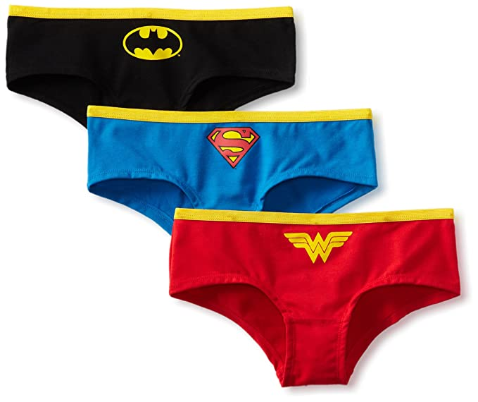 DC Comics Super Heroes Classic Logo 3 Pack Mujer Hipster Bragas - - Small