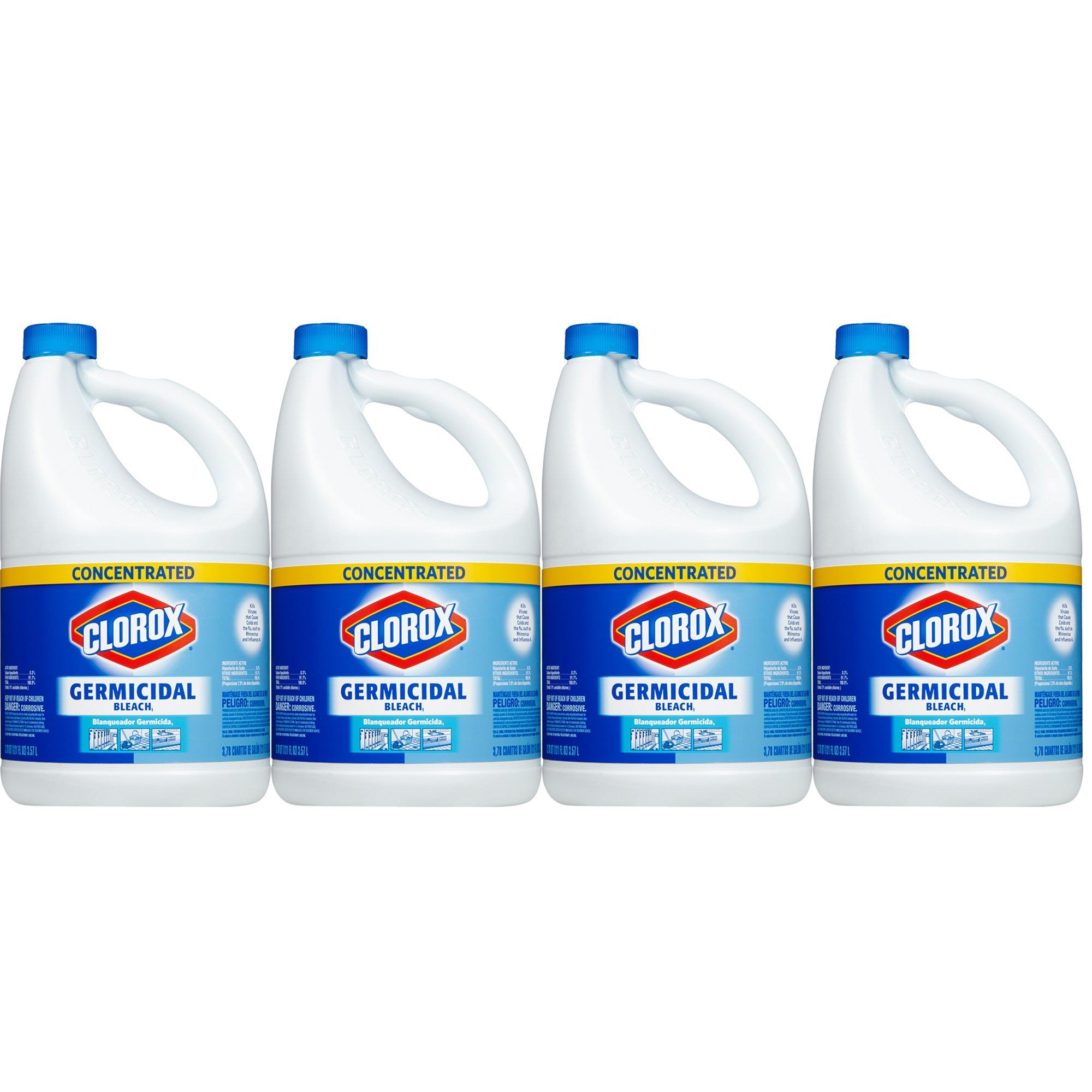 Clorox Germicidal Concentrated Liquid Bleach, 121 oz, 4-Pack