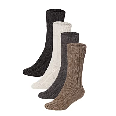 BRUBAKER 4 Pack Thick Luxury Angora + Wool Socks Ankle Socks Winter Socks For Men Or