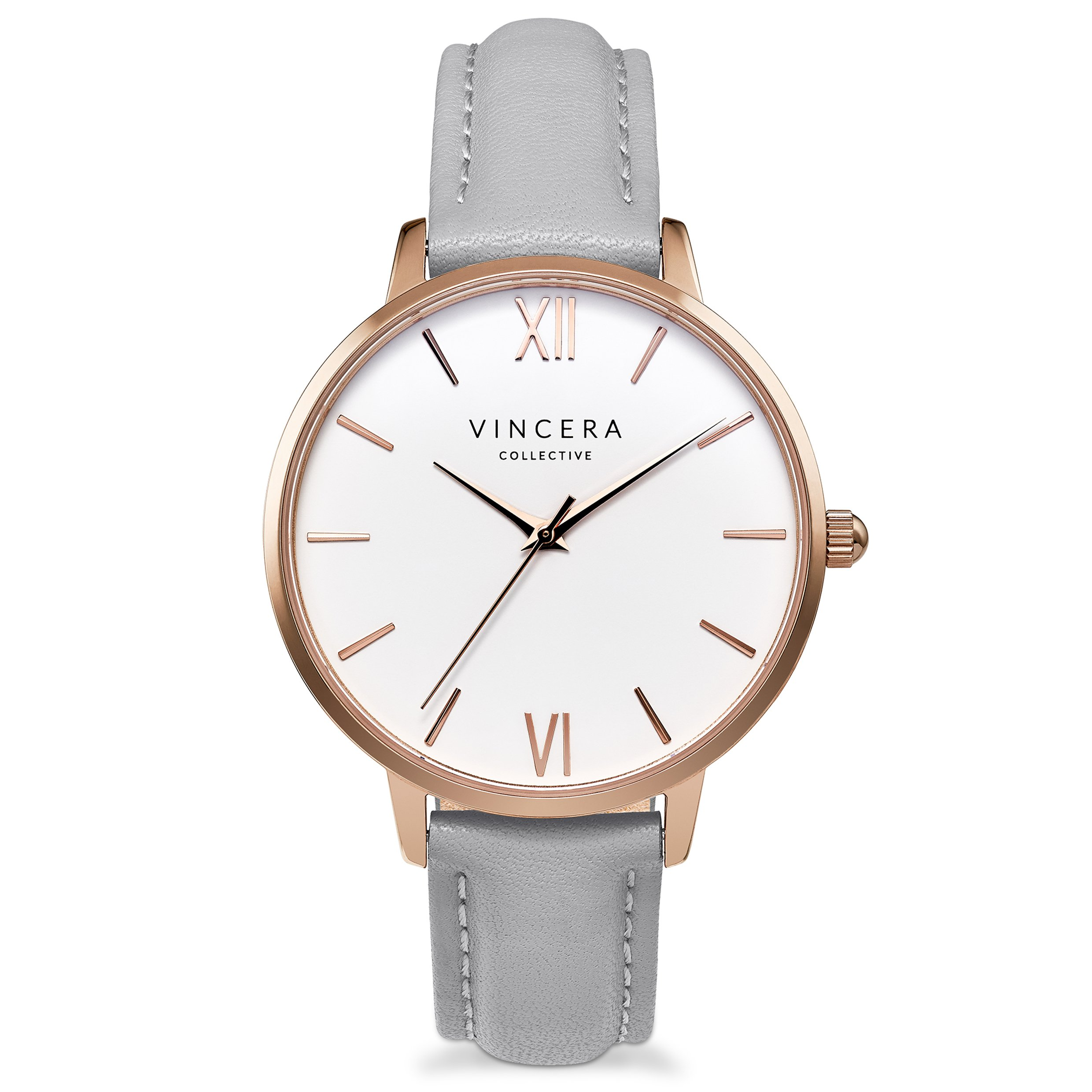 Vincero Luxury Women's Eros Wrist Watch — Rose Gold + White dial with a Fog Leather Watch Band — 38mm Analog Watch — Japanese Quartz Movement by Vincero