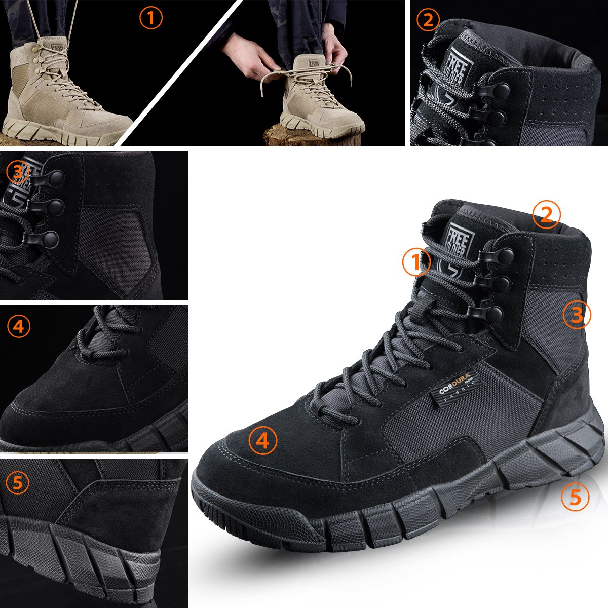 FREE SOLDIER Men's Tactical Boots 6'' inch Lightweight Military Boots for Hiking Work Boots Breathable Desert Boots (Black, 12.5) by FREE SOLDIER (Image #3)