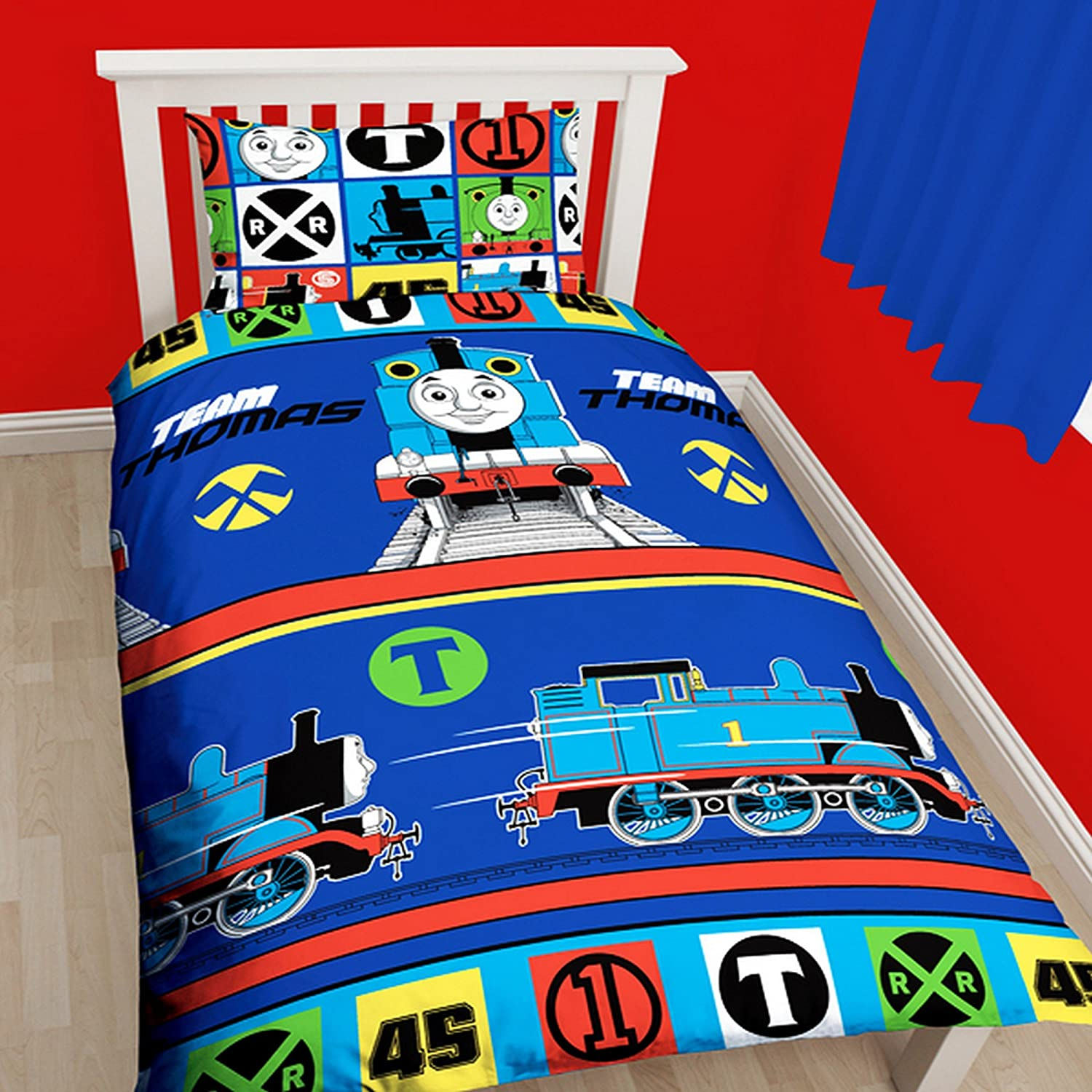 Thomas The Tank 'Team' Single Duvet Set - Repeat Print Design Character World TTTTEMDS002UK1