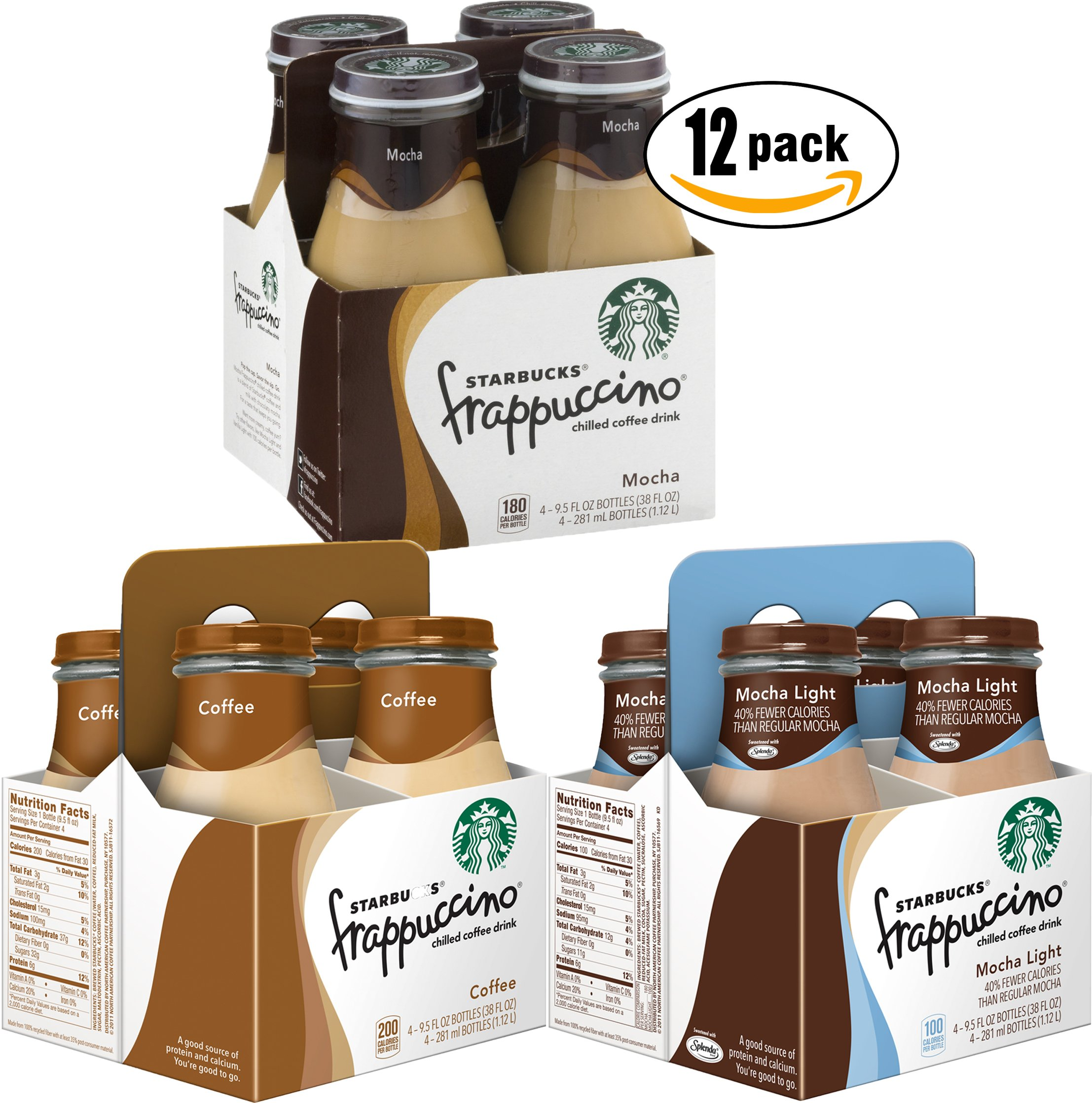 Starbucks Coffee Frappuccino Variety Pack! Mocha Light, Coffee, Chilled Mocha, 9.5 oz Glass Bottles (Pack of 3, Total of 12 Glass Bottles) by Starbucks Coffee Frappuccino (Image #1)