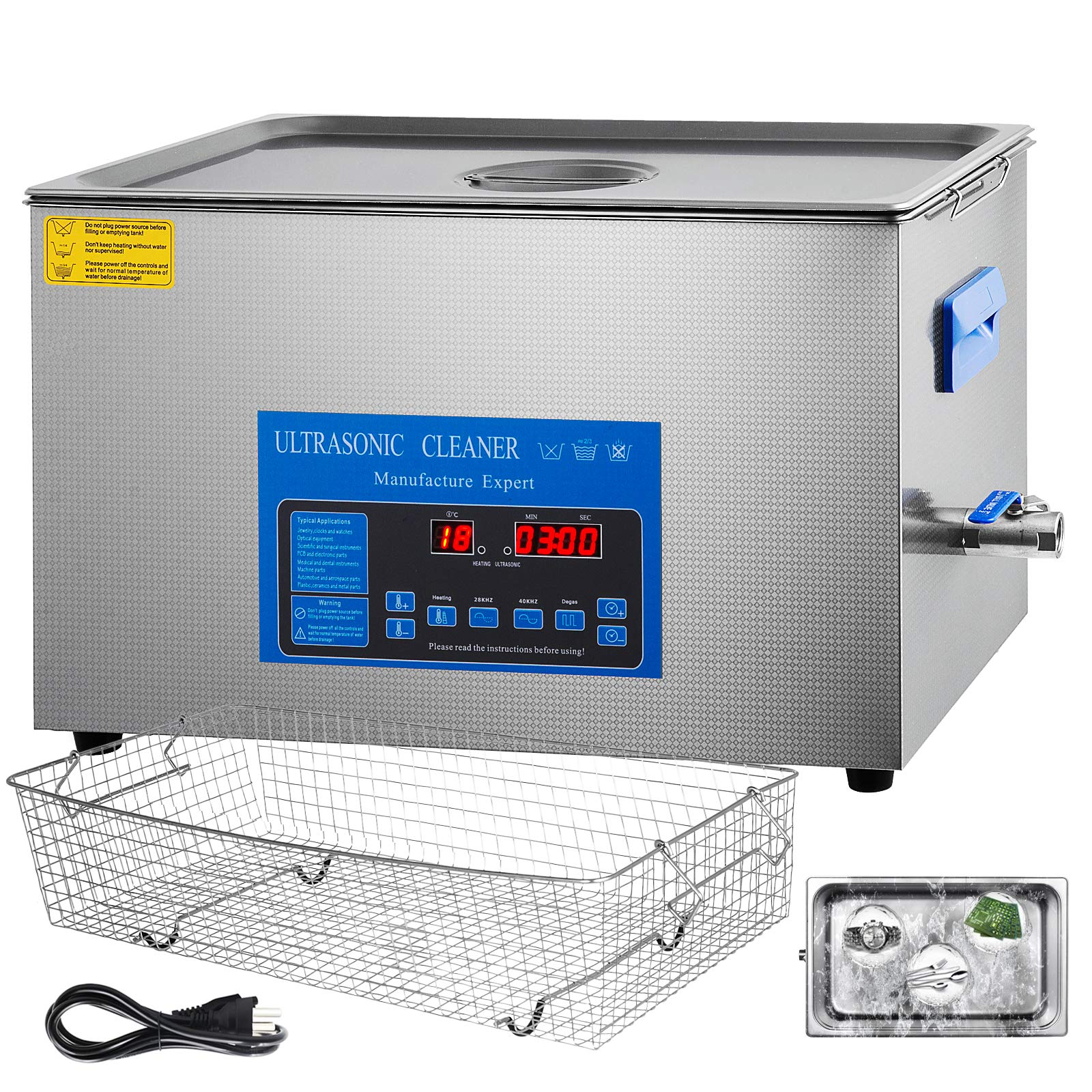 Mophorn 28/40khz Dual Frequency Ultrasonic Cleaner 304 Stainless Steel Digital Lab Ultrasonic Cleaners with Heater Timer for Jewelry Watch Glasses Circuit Board Small Parts Dental Instrument(22L)