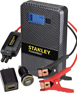 Dual 3.1A USB Ports STANLEY SS4LS PowerToGo Lithium Ion Power Station Jump Starter and 8000mAh Portable Power Bank Battery Clamps