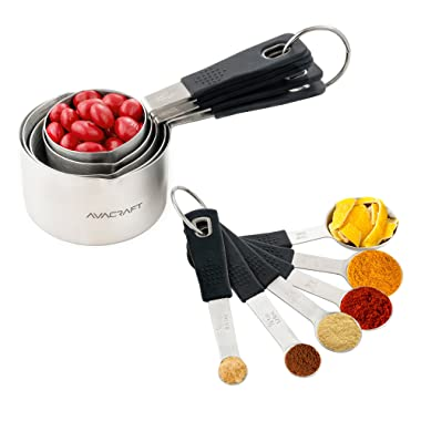 AVACRAFT 18/10 Stainless Steel Measuring Cups and Spoons Set with Ergonomic Soft Grip Silicone Handle and Easy Pour Spout, Perfect for Dry and Liquid Ingredients, Set of 11, Black