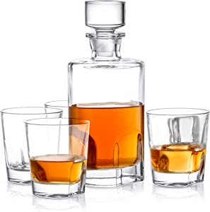 JoyJolt Carina 5 Piece Whiskey Decanter And Glass Set, 100% Crystal Bar Set Prefer For Scotch, Liquor, Bourbon Comes with A Whisky Decanter Sets And 4 Old Fashioned Glasses.