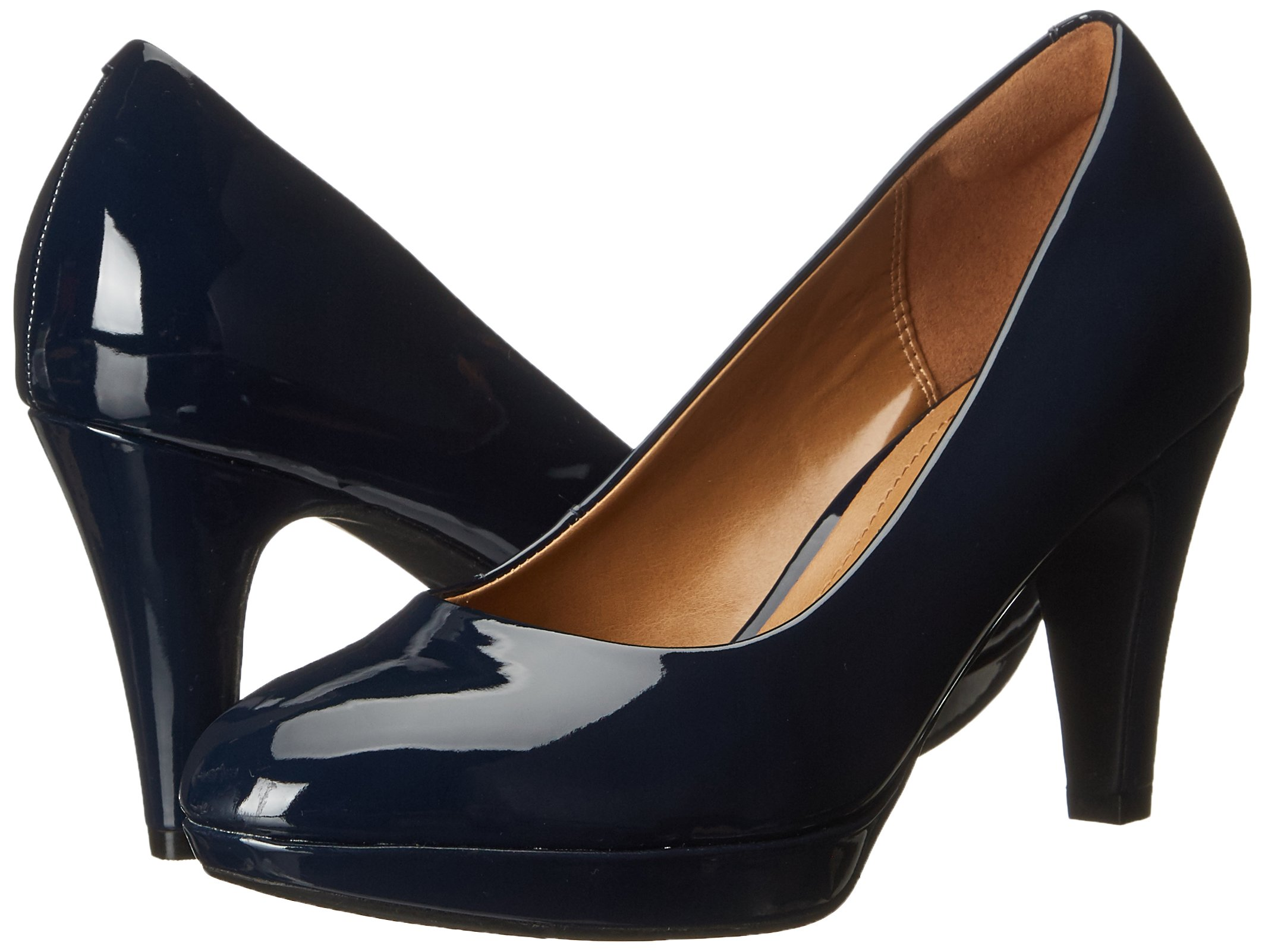 CLARKS Women's Brier Dolly Platform Pump, Navy, 11 W US by CLARKS (Image #6)