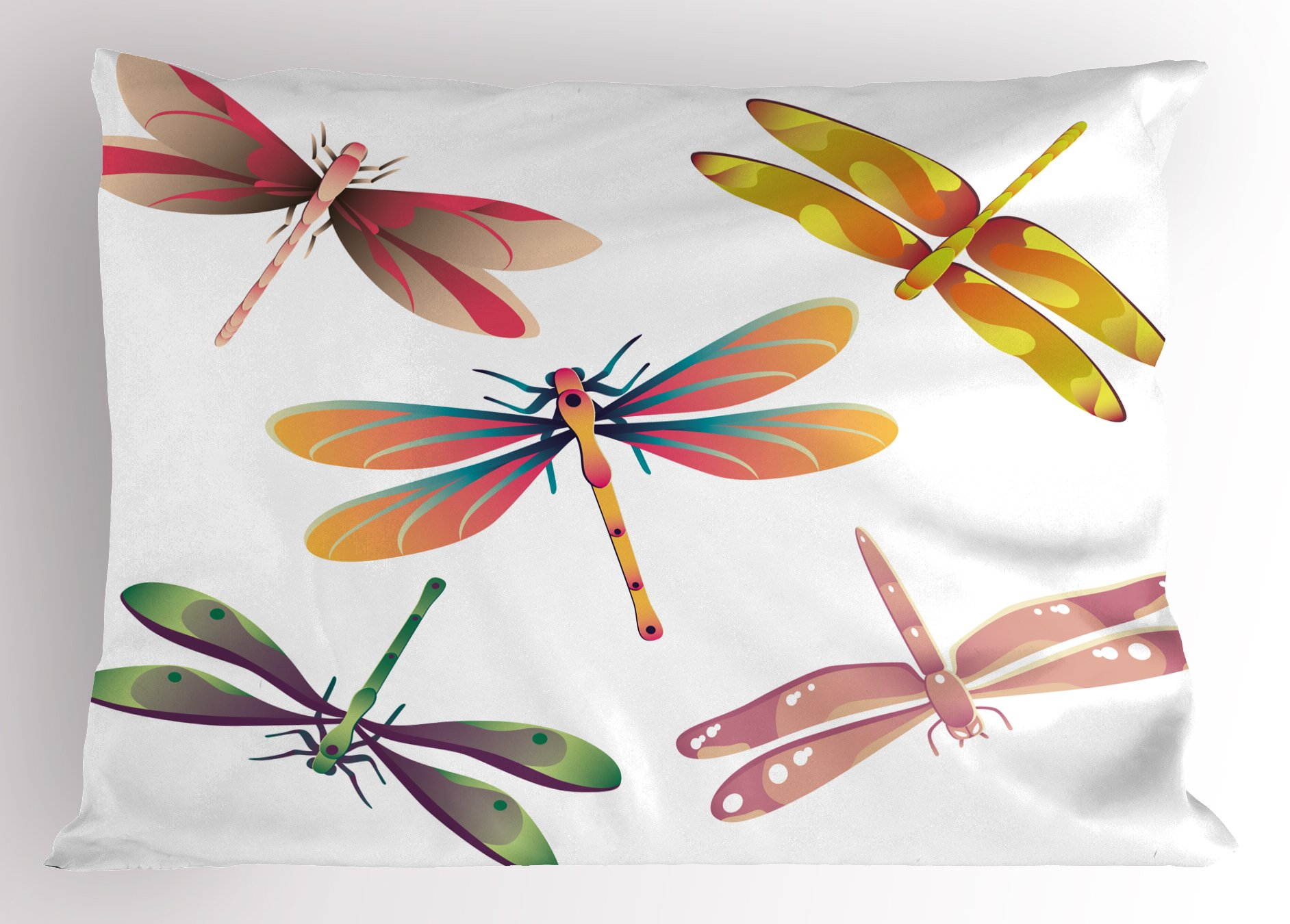 Ambesonne Dragonfly Pillow Sham, Five Spiritual Bugs in Modern Abstract Patterned Beauty Elegance Artsy Motif, Decorative Standard Queen Size Printed Pillowcase, 30 X 20 inches, Multicolor
