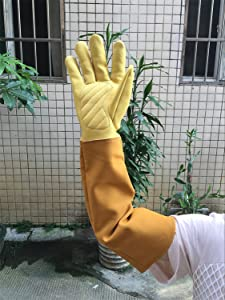 Thorn Proof Gardening Gloves Goatskin Leather Rose Pruning Gloves Puncture Resistant Work Protective Gloves For Men Or Women CYST11 Medium