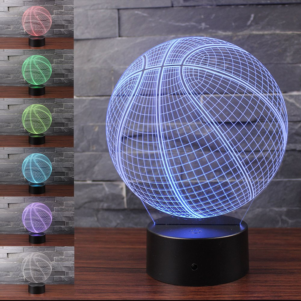 3D Illusion Basketball Night Light Lamp with 7 Color Change, Touch Base, Power by AA Batteries by AZALCO (Image #7)