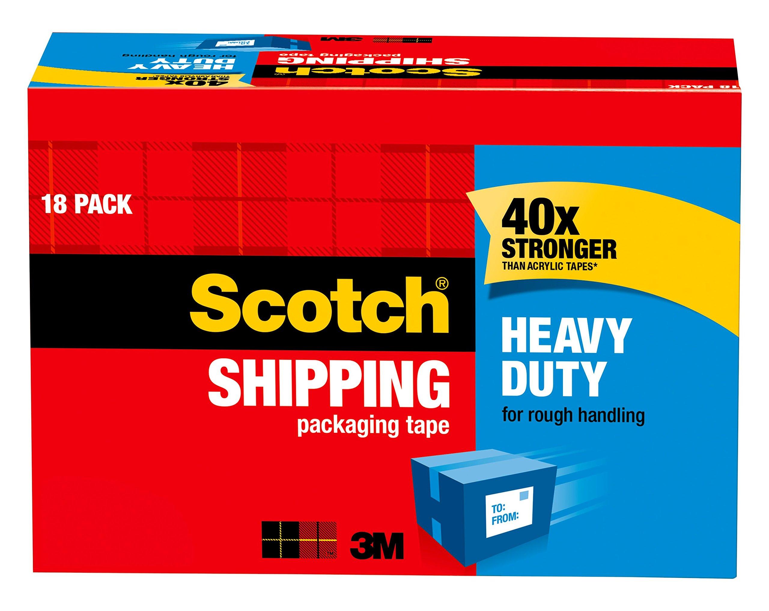 Scotch Heavy Duty Shipping Packaging Tape, 3'' Core, 1.88'' x 54.6 Yards, 18-Rolls (3850-18CP)
