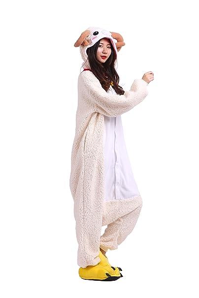 YUWELL Kigurumi Pijamas Unisexo Adulto Traje Disfraz Animal Animal Pyjamas, Cabra M (Height:
