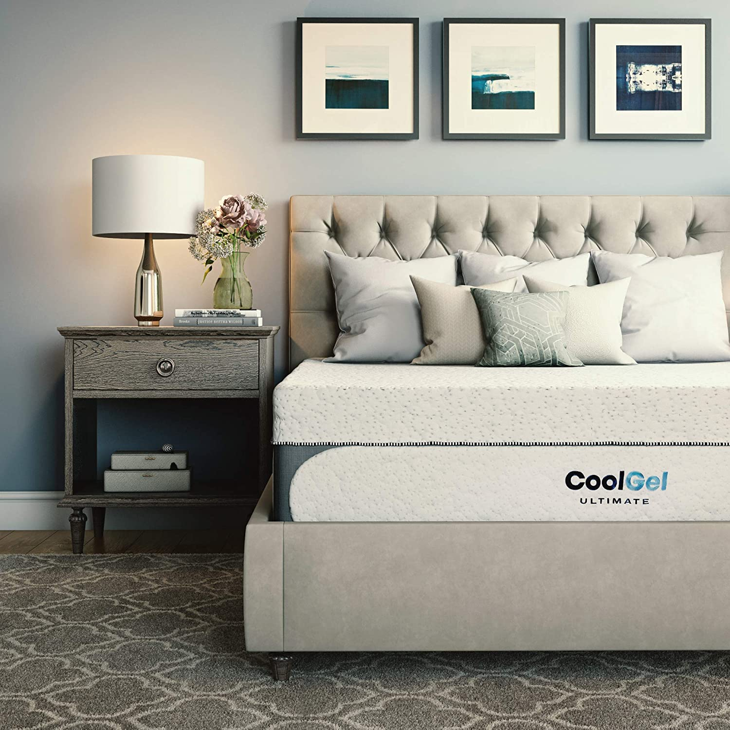 Classic Brands Cool Gel 1.0 Ultimate Gel Memory Foam 14-Inch Mattress with BONUS 2 Pillows, White, Queen
