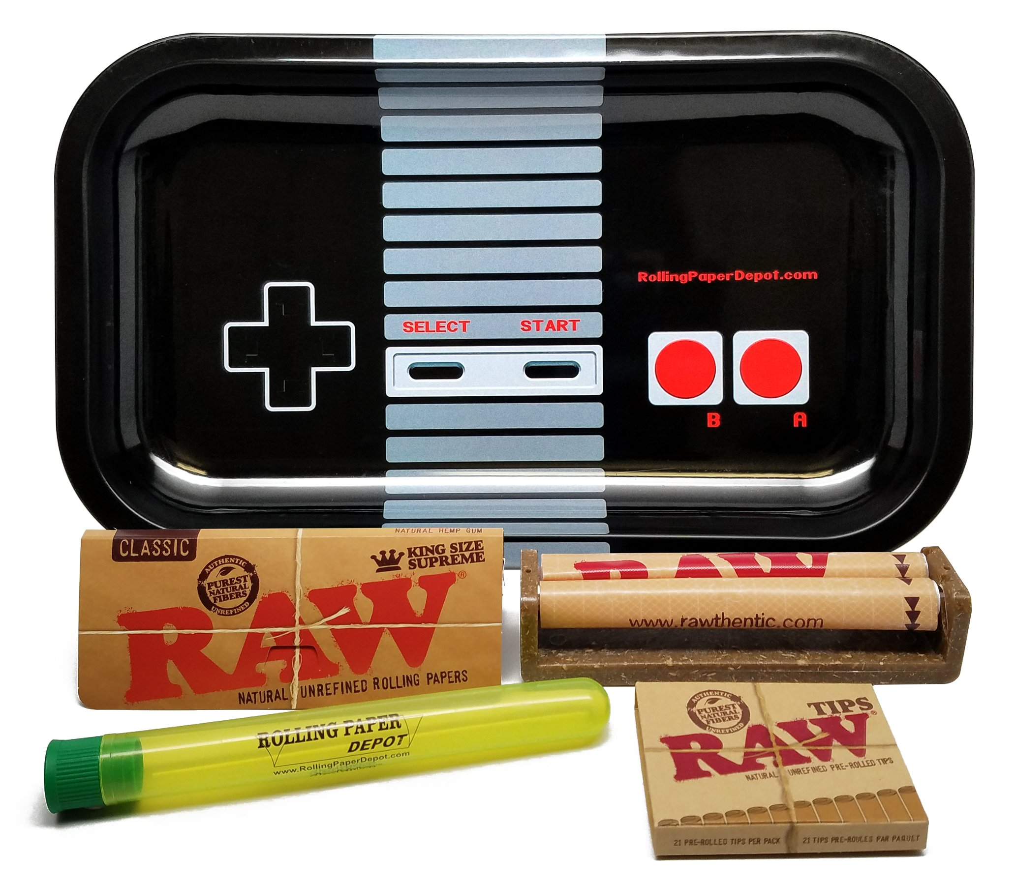 Bundle - 5 Items - RAW King Size Supreme, 110 Roller and Pre-rolled Tips with Rolling Paper Depot Rolling Tray (Controller) and Doobtube by RAW, Rolling Paper Depot