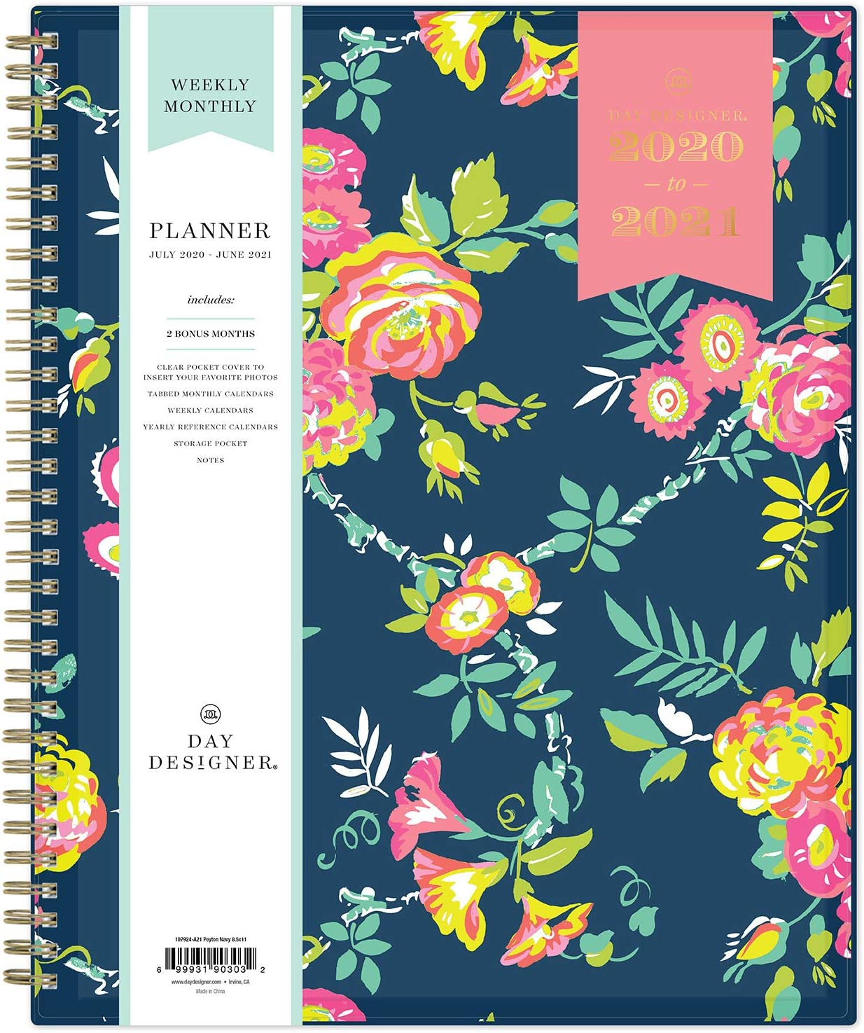 "Day Designer for Blue Sky 2020-2021 Academic Year Weekly & Monthly Planner, Flexible Cover, Twin-Wire Binding, 8.5"" x 11"", Peyton Navy"