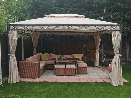 Greenbay 3x4m Sand Metal Gazebo Pavilion Awning Canopy Sun Shade Screen Shelter Garden Party Tent