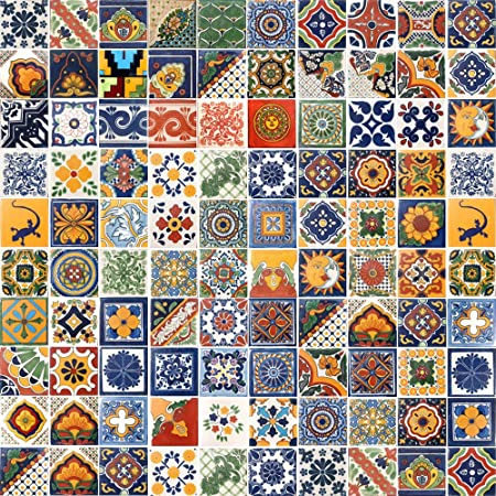 100 DESIGNED TILES MEXICAN CERAMIC ASSORTED 4X4 INCH TILE