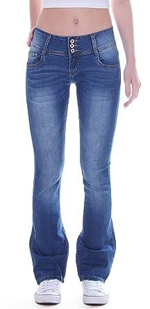 Damen Jeans Bootcut Hose Hüftjeans Schlaghose Stretch 3 Knöpfe blau  Stretchjeans Schlagjeans Jeanshose Bootcutjeans Bootcuthose Schlag 891f7eb44a