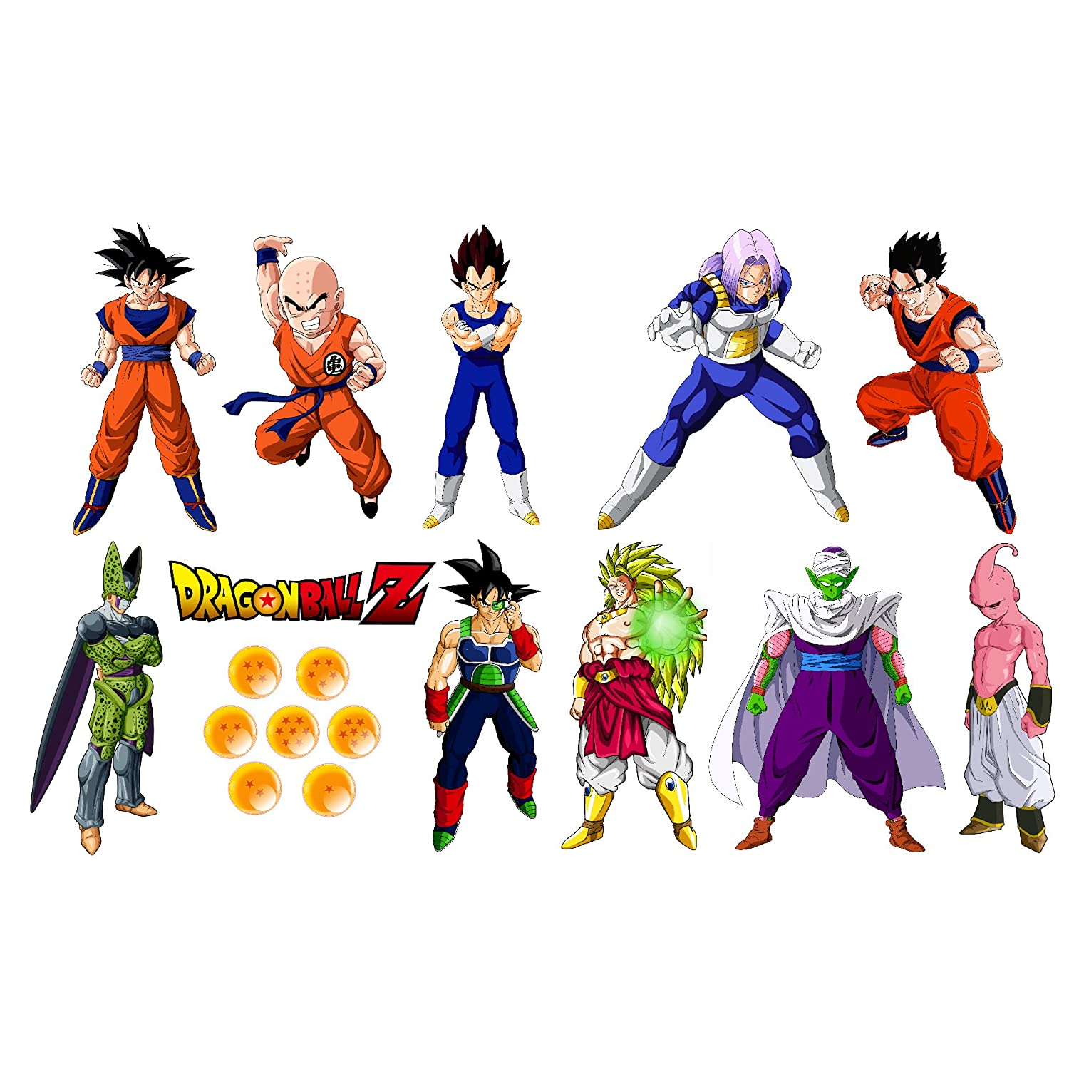 Amazon the dragonball z removable wall stickers 18 piece set amazon the dragonball z removable wall stickers 18 piece set including goku kirllin gohan trunks vegeta bardock broly cell buu amipublicfo Images