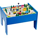 Active Chad-Valley Wooden Table and 90 Piece Train Set [Cleva Junior ...