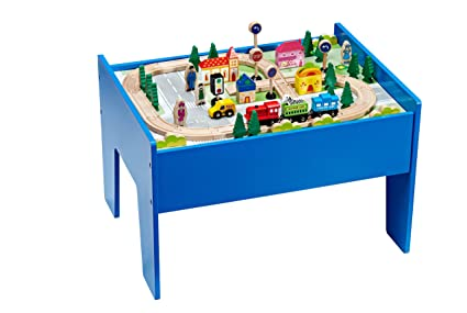 Amazon Com Wooden Toys Train Table Set 60 Pieces Toys