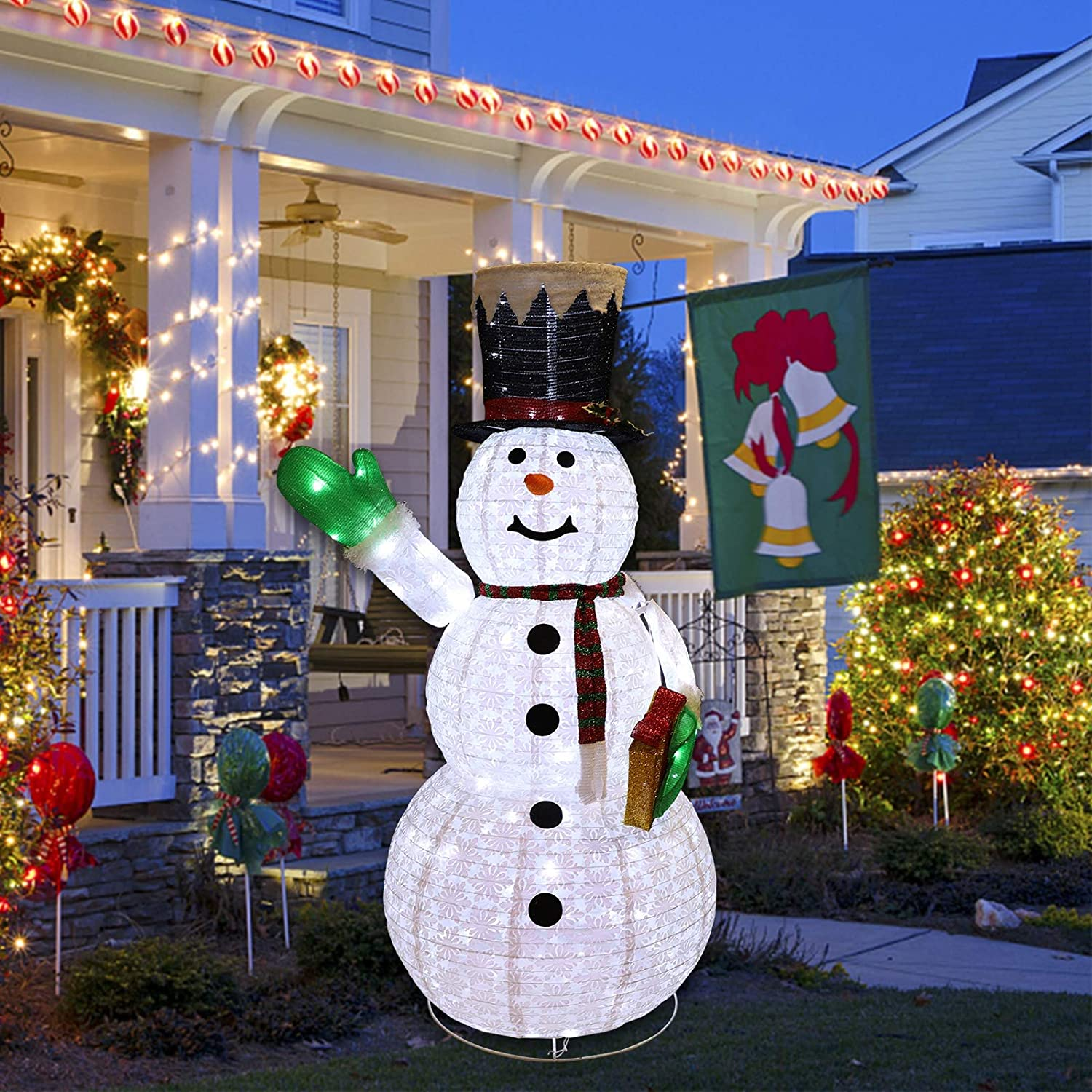 Mortime 6ft Lighted Christmas Portable Snowman Led Xmas Snowman Decor For Christmas Outdoor Yard Party Shopping Mall Decorations Garden Outdoor