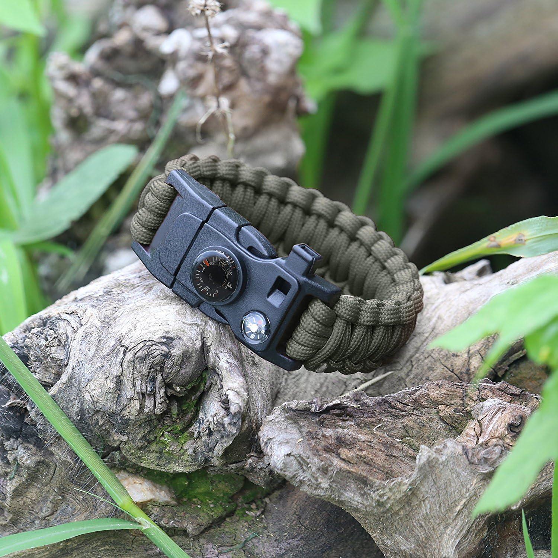 m/áxima Carga de 250/kg Cuchillo sedal y Anzuelo con pedernal Pack de 2 Multiusos Silbato term/ómetro Pulsera Paracord Survival 16/en 1 br/újula