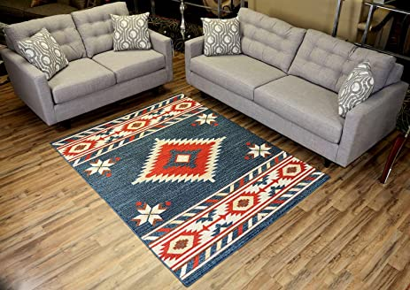 Nevita Collection Southwestern Native American Design Area Rug Rugs  Geometric (Blue, 5 X 7