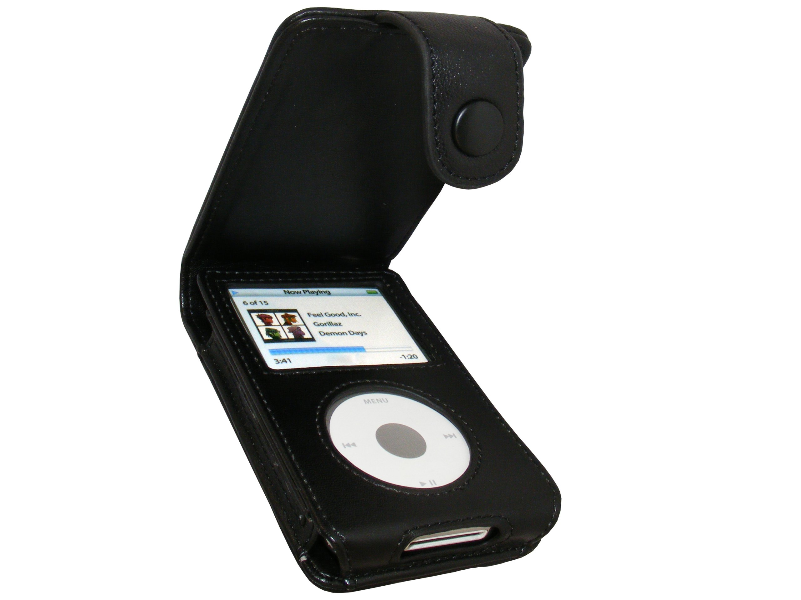 igadgitz Black Genuine Leather Case Cover for Apple iPod Classic 80gb, 120GB & New 160gb launched Sept 09 with Belt Clip & Screen Protector