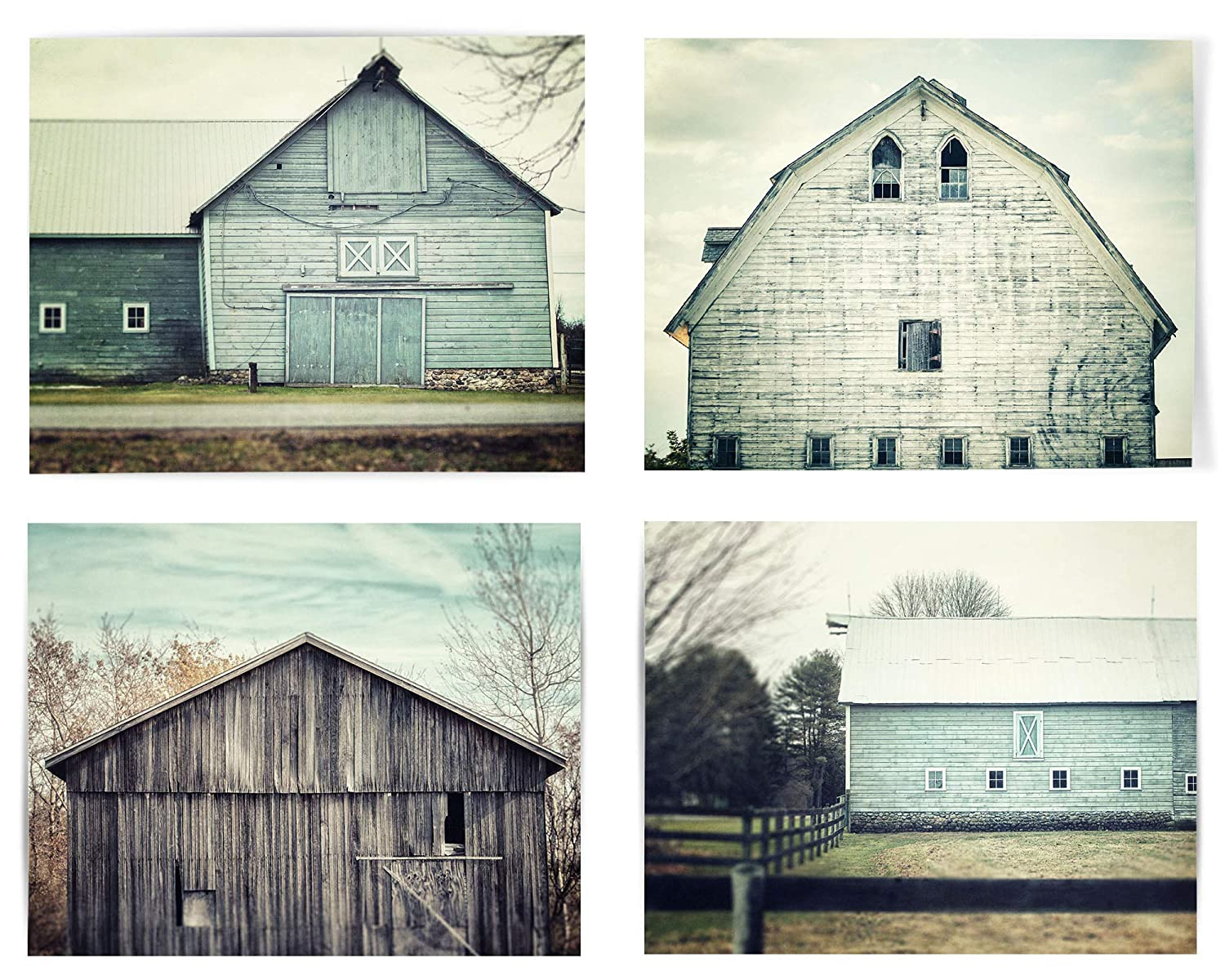 Shabby Chic Farmhouse Wall Art Home Decor Set of 4 Prints (Not Framed). Teal and Aqua Barn Landscapes. 5x7, 8x10, 11x14, or 16x20. (4 5x7 Prints Only)