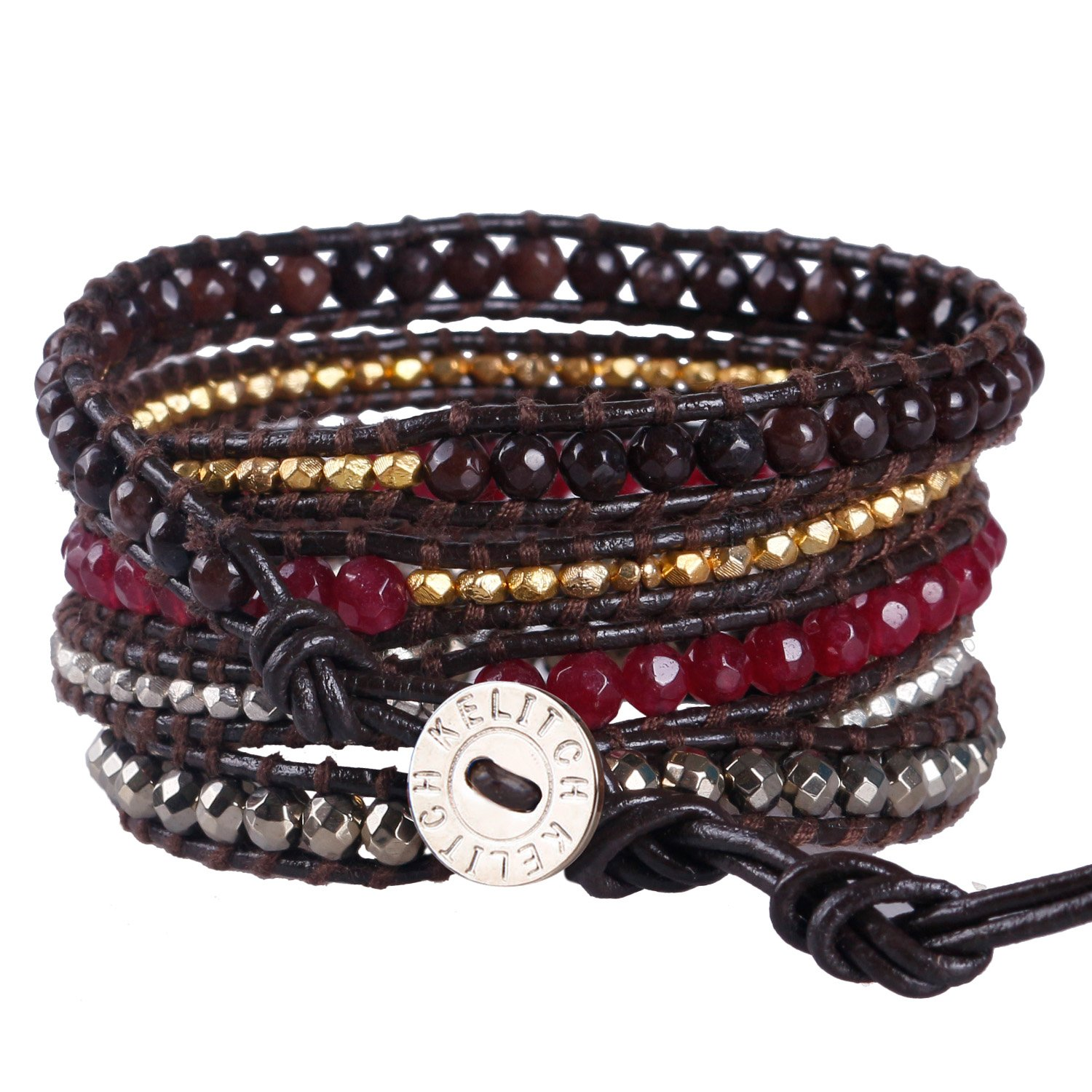 KELITCH Mix Beaded with Metal Bead Bracelet on Leather 5 Wrap Bracelet Handmade New Top Jewelry (Red)