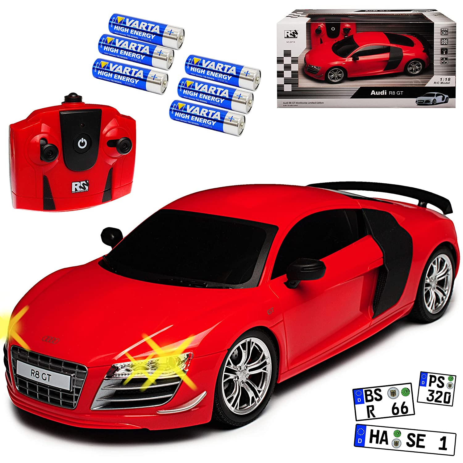 Audi R8 GT 42 Coupe Rot 2006-2015 RC Funkauto - inkl. Batterien - sofort startklar 1/18 Modell Auto