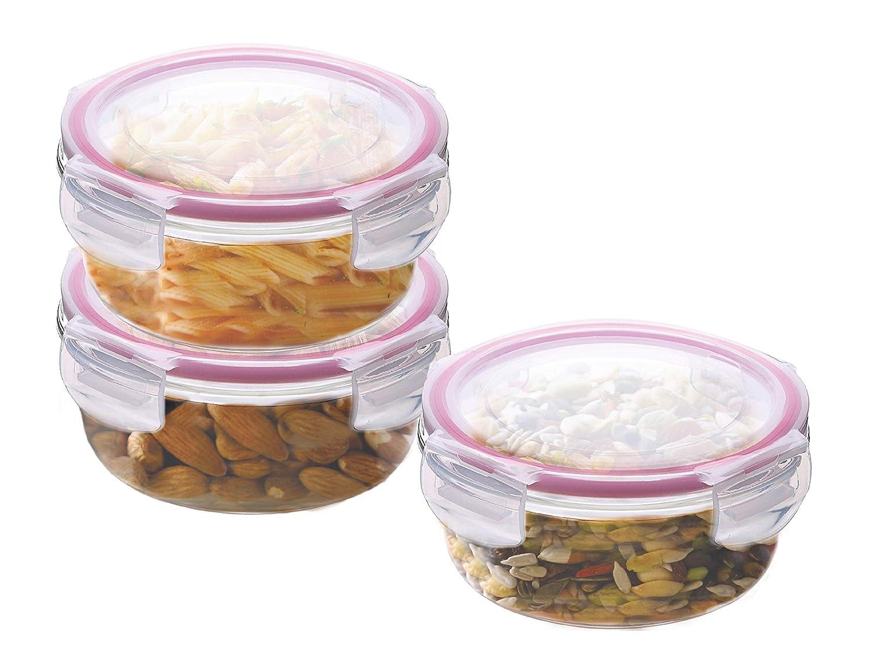 Kaiserhoff FlexiKitchen Round Glass Storage Container Set, 400 ml, Set of 3, Transparent