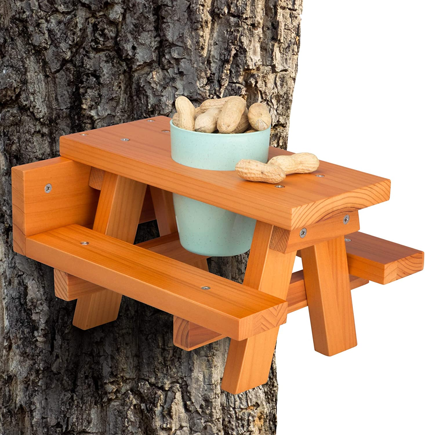 Enclave Woods Large Squirrel Feeder - Quality Squirrel Picnic Table Feeder for Fence or Tree - Safe Picnic Table for Squirrels with Cup - Customizable Food Options - Nuts, Berries, Fruits - Funny Gift