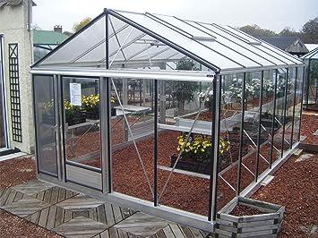 Euro-Serre – Invernadero Euro Maxi 3, 09 x 3, 80 m – Cristal Templado 4 mm & Aluminio Natural: Amazon.es: Jardín