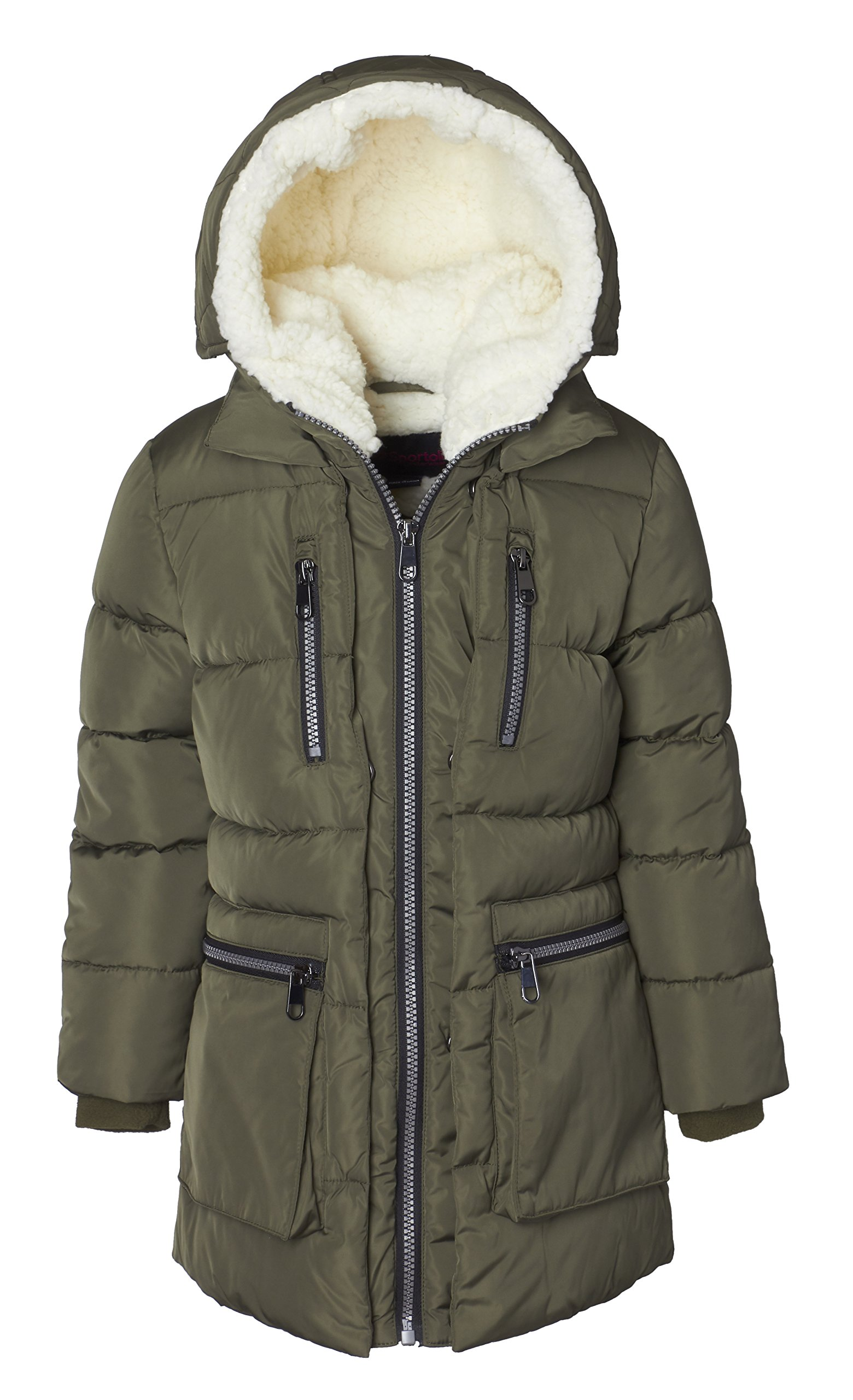 Sportoli Girls' Fleece Lined Heavy Quilted Fashion Detailed Jacket Coat with Attached Sherpa Lined Hood - Olive 7/8