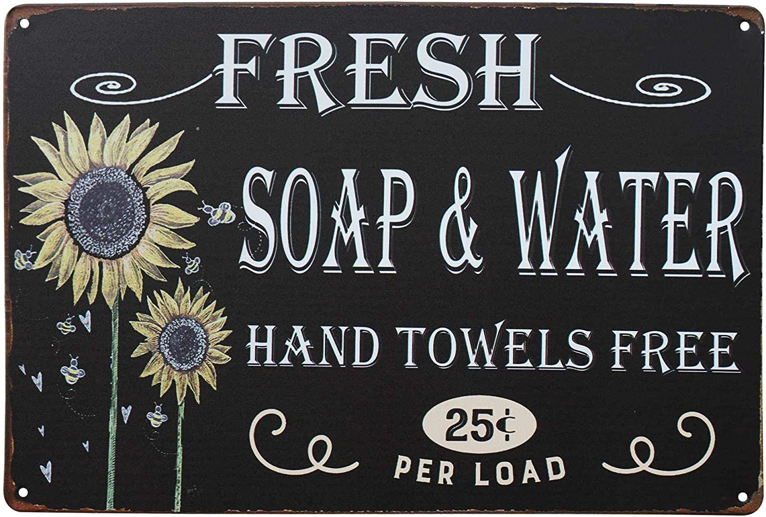 PXIYOU Colorful Sunflower Fresh Soap Water Hanging Sign Vintage Bath Bathroom Laundry Room Decor Country Wall Home Decor Art Signs 8X12Inch