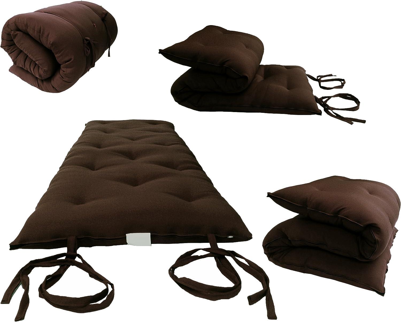 Brown Full Size Traditional Japanese Floor Futon Mattresses, Foldable Cushion Mats, Yoga, Meditaion 54