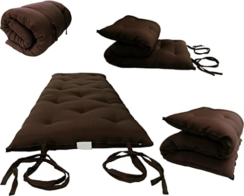 Brown Full Size Traditional Japanese Floor Futon Mattresses, Foldable Cushion Mats, Yoga, Meditaion 54 Wide X 80 Long
