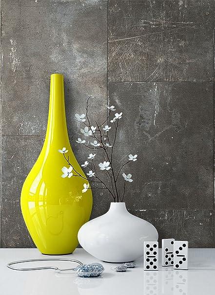 Tapete Metalloptik in Grau | schöne moderne Tapete für Ihr Wohnzimmer |  inklusive der Newroom Tapezier Profibroschüre mit Tipps für perfekte ...