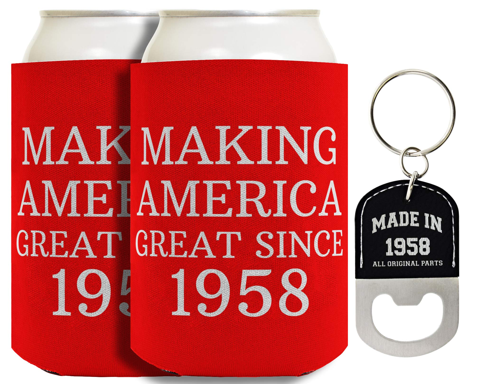 60th Birthday Gifts Making America Great Since 1958 2-pack Can Coolies & Bottle Opener Keychain Bundle by Birthday Gifts For All