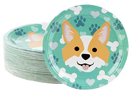 Review Disposable Plates - 80-Count Paper Plates, Dog Party Supplies for Appetizer, Lunch, Dinner, and Dessert, Corgi, 9 x 9 inches