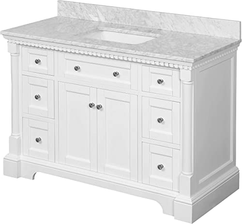 Sydney 48-inch Bathroom Vanity Carrara/White : Includes White Cabinet