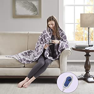 """Beautyrest Plush Heated Throw Blanket – Secure Comfort Technology – Oversized 60""""x70""""–Lavender-Ogee Pattern in White - Cozy Soft Microlight Heated Electric Blanket Throw - 3-Setting Heat Controller"""