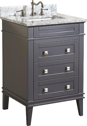 Eleanor 24-inch Bathroom Vanity Carrara/Charcoal Gray : Includes Charcoal Gray Cabinet