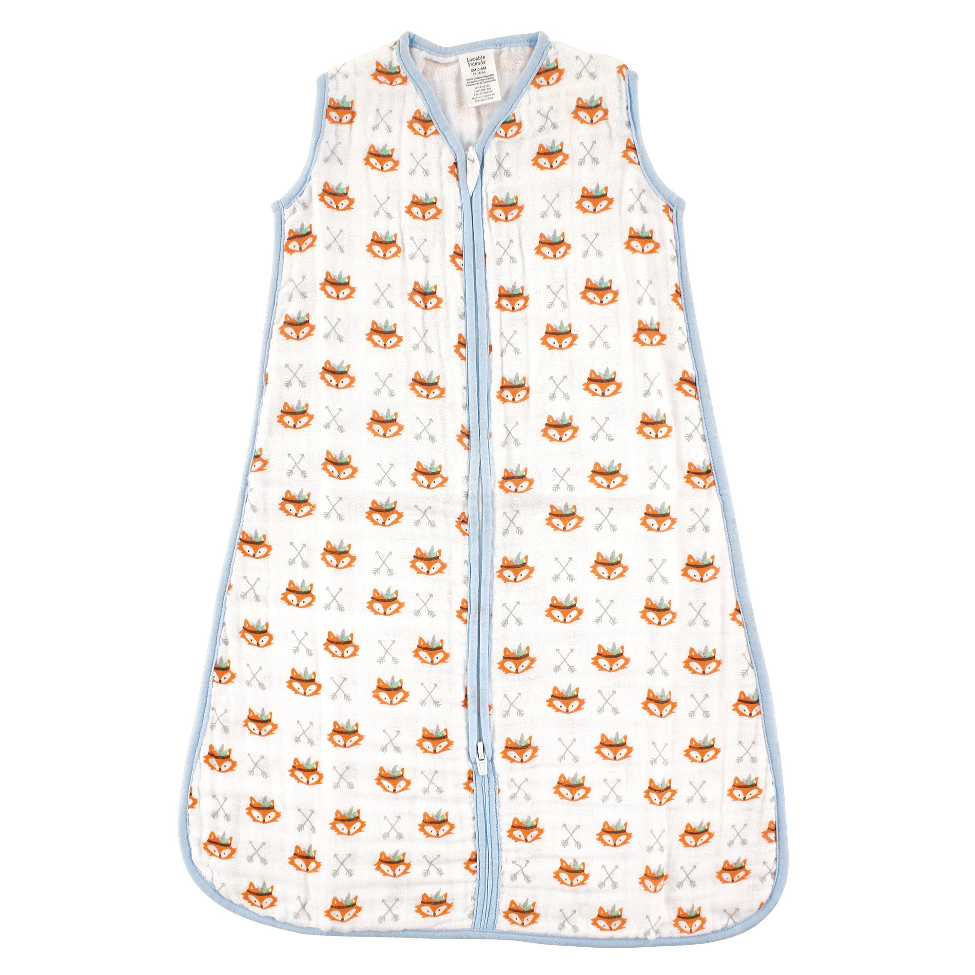 Luvable Friends Baby Infant Soft Muslin Jersey Cotton Safe Wearable Sleeping Bag, Fox, 12-18 Months
