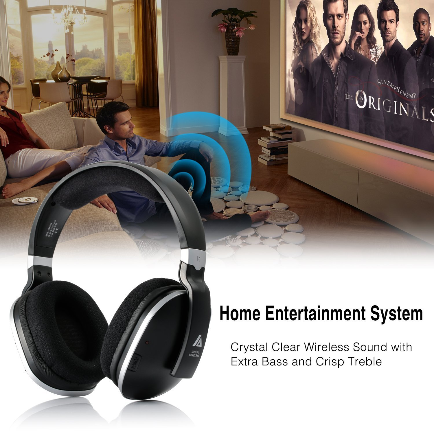 Wireless TV Headphones Over Ear Headsets - Digital Stereo Headsets with 2.4GHz RF Transmitter, Charging Dock, 100ft Wireless Range and Rechargeable 20 Hour Battery, Black by ARTISTE (Image #5)